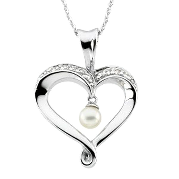 White Freshwater Cultured Pearl and CZs 'Heart and Soul' Rhodium Plate Sterling Silver Necklace 5MM, 18""