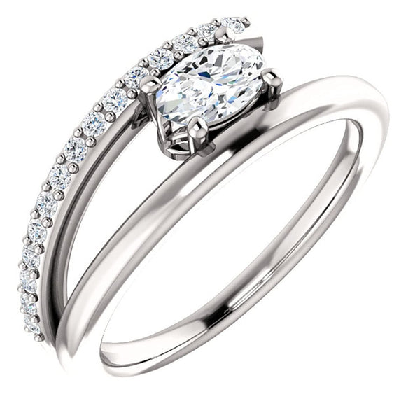 White Sapphire and Diamond Bypass Ring, Rhodium-Plated 14k White Gold (.125 Ctw, G-H Color, I1 Clarity)