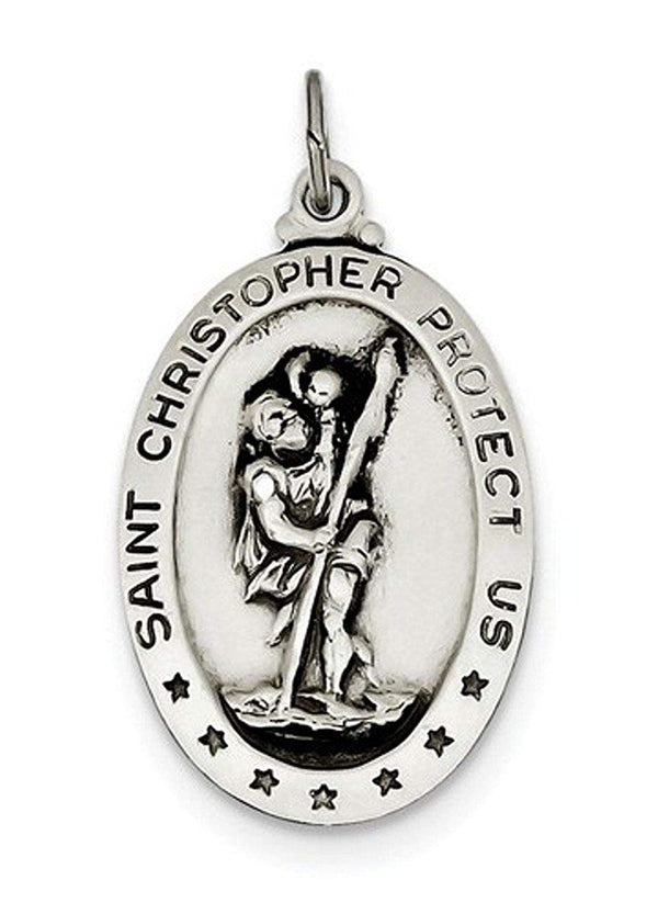 Sterling Silver Saint Christopher Medal Charm Pendant (34X20 MM)