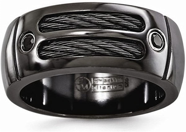 Edward Mirell Black Titanium Cable and Black Spinel Sterling Silver Bezel 9.5mm Wedding Band, Size 9.5
