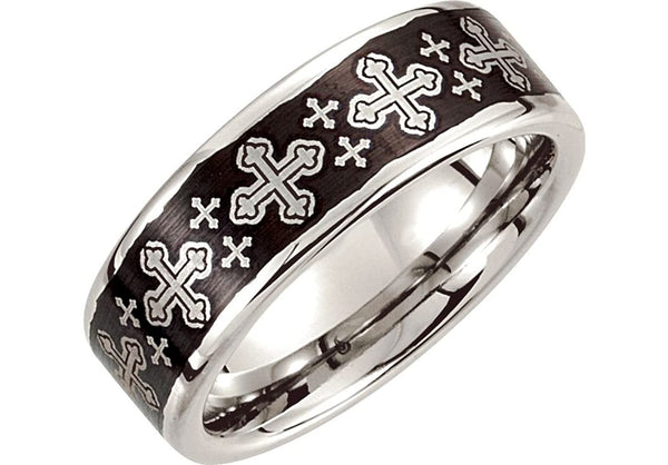 8mm Dura Cobalt Black Laser Crosses Ring, Size 14