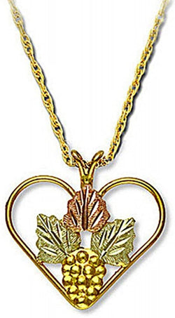 Grape Rosette with Heart Pendant Necklace, 10k Yellow Gold, 12k Green and Rose Gold Black Hills Gold Motif, 18""