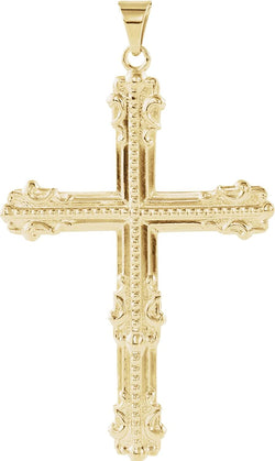 Men's Large Old-World Cross Pendant, 14k Yellow Gold