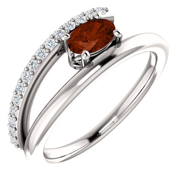 Mozambique Garnet and Diamond Bypass Ring, Rhodium-Plated 14k White Gold (.125 Ctw, G-H Color, I1 Clarity), Size 7.5