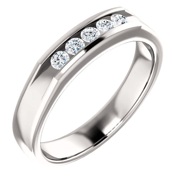 Men's 5-Stone Diamond Wedding Band, Rhodium-Plated 14k White Gold (.33 Ctw, Color G-H, SI2-SI3 Clarity) Size 11.5