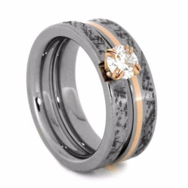 Charles & Colvard Forever One Moissanite, Mimetic Meteorite Engagement Ring, 14k Rose Gold, Mimetic Meteorite Titanium Wedding Band, Bridal Set