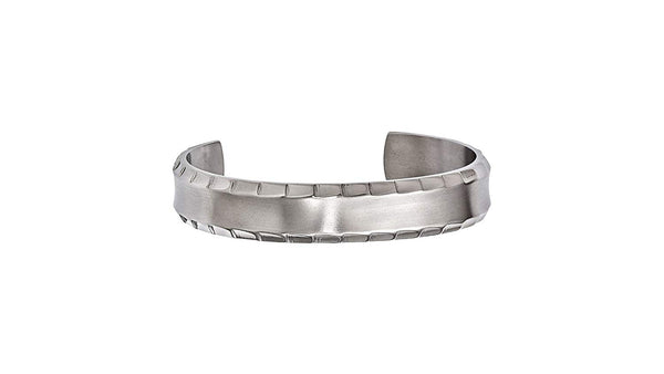 Men's Templar Collection Gray Titanium Faceted Edge Cuff Bracelet (14MM)