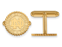 Gold -Plated Sterling Silver, University Of Notre Dame Crest Round Cuff Links, 15MM