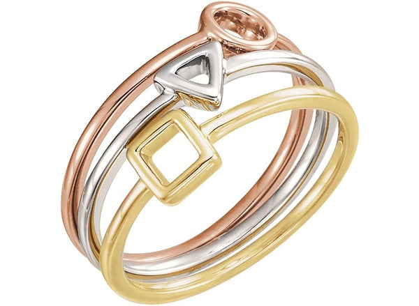 Three Geometric 4.5mm Stackable Rings Set, Rhodium-Plated 14k White Gold, 14k Yellow Gold and 14k Rose Gold, Size 7