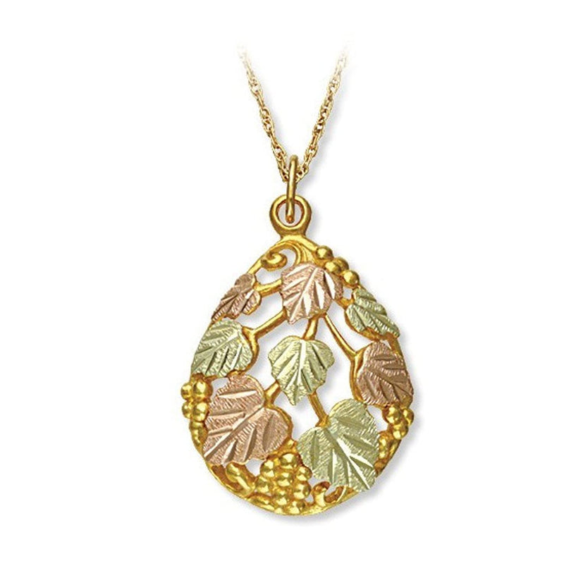Graduated Leaf and Grape Clusters Teardrop Pendant Necklace, 10k Yellow Gold, 12k Green and Rose Gold Black Hills Gold Motif, 18""