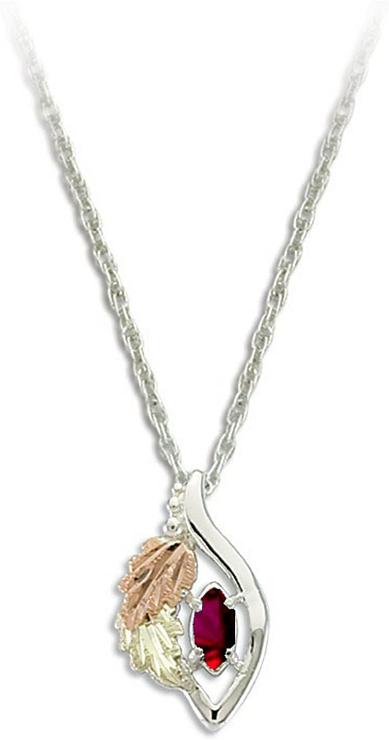 Created Garnet Marquise January Birthstone Pendant Necklace, Sterling Silver, 12k Green and Rose Gold Black Hills Gold Motif, 18""