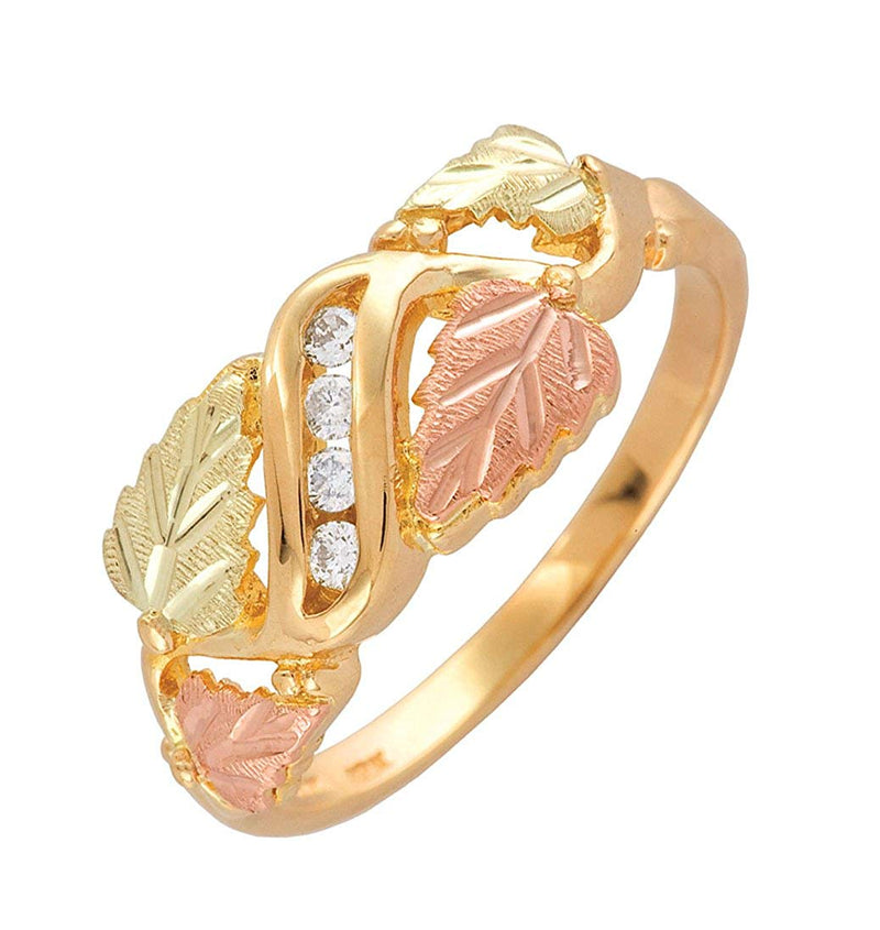 4-Stone Diamond and Grape Leaf Ring, 10k Yellow Gold, 12k Pink and Green Gold Black Hills Gold Motif (.08 Ctw)