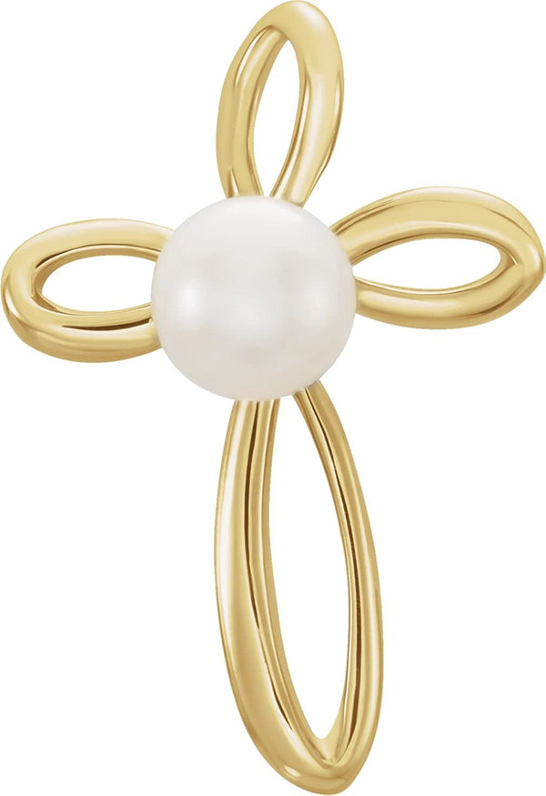 White Freshwater Cultured Pearl Cross 14k Yellow Gold Pendant (4-4.5MM)