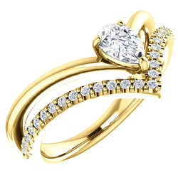 White Sapphire Pear and Diamond Chevron 14k Yellow Gold Ring (.145 Ctw,G-H Color, I1 Clarity)