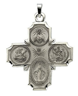 14k White Gold Four-Way Cross Medal (30x29 MM)