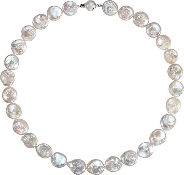"White Freshwater Cultured Coin Pearl Sterling Silver Necklace, 18"" (13.0-14.0 MM)"