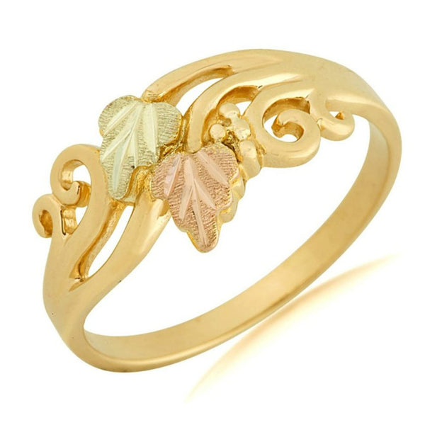 Scrollwork Slim Profile Ring, 10k Yellow Gold, 12k Green and Rose Gold Black Hills Gold Motif