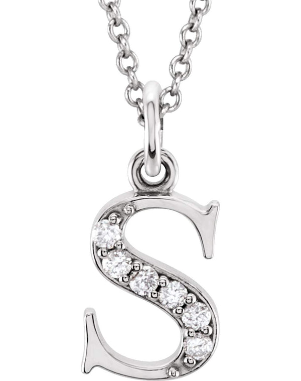 "Petite Diamond Initial 's' Lowercase Letter Rhodium-Plate 14k White Gold Pendant Necklace, 16"" (.03 Ctw GH, I1)"