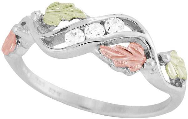 Slim-Profile Cubic Zirconia Ring, Sterling Silver, 12k Green and Rose Gold Black Hills Gold Motif, Size 6.25