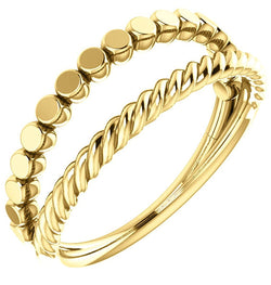 Rope Trim and Flat Granulated Bead Twin Stacking Ring, 14k Yellow Gold, Size 5.75