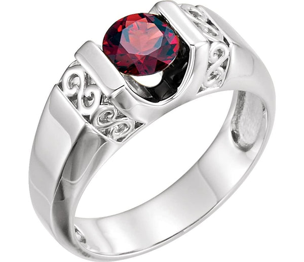 Men's Mozambique Garnet 1.65 Ct Ring, Sterling Silver, Size 10.5