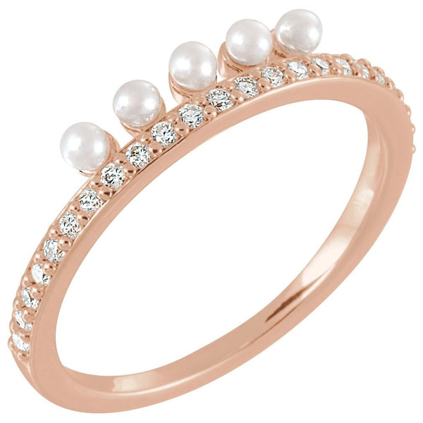 White Freshwater Cultured Pearl, Diamond Stackable Ring, 14k Rose Gold (2mm)(.2Ctw, Color G-H, Clarity I1)