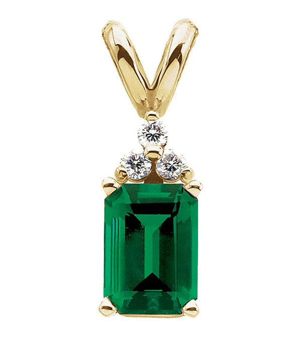 14k Yellow Gold Chatham Emerald and Diamond Pendant