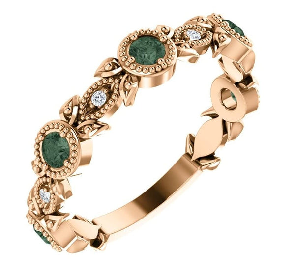 Chatham Created Alexandrite and Diamond Vintage-Style Ring, 14k Rose Gold (0.03 Ctw, G-H Color, I1 Clarity)