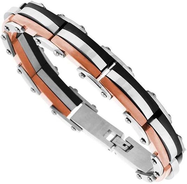 Men's Tri-Color Ion Plated Link Bracelet, Stainless Steel, 8.75""