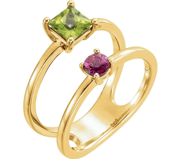 Peridot and Pink Tourmaline Two-Stone Ring, 14k Yellow Gold) Size 6