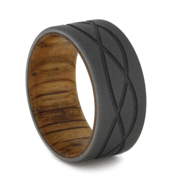 Wave Pattern Sandblasted Titanium 9mm Comfort-Fit Oak Wood Band