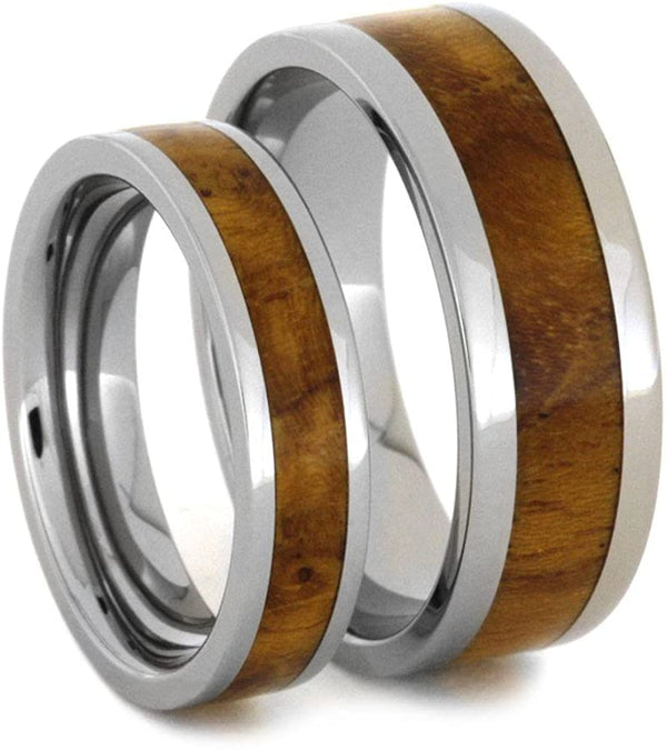 Teak Burl Wood Inlay and His and Hers Titanium Wedding Band Set, M8-F6.5
