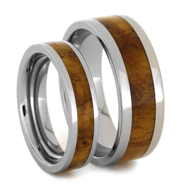 Teak Burl Wood Inlay and His and Hers Titanium Wedding Band Set