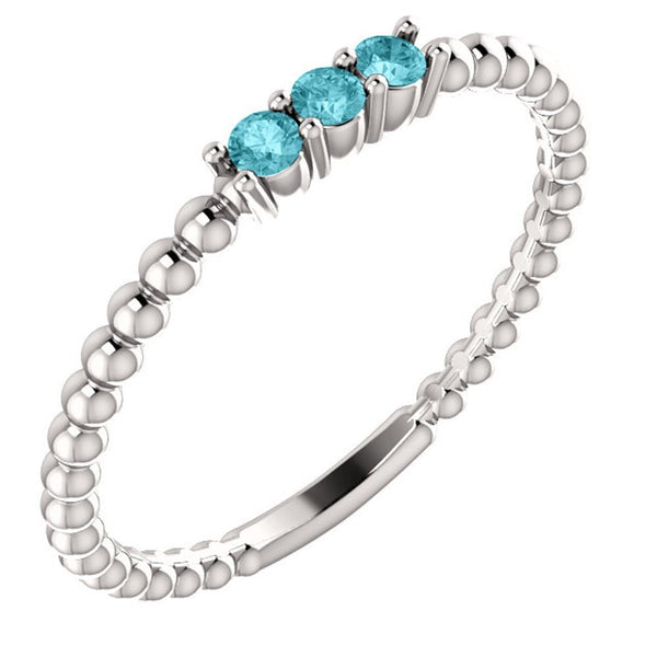 Blue Zircon Beaded Ring, Rhodium-Plated 14k White Gold, Size 6.5