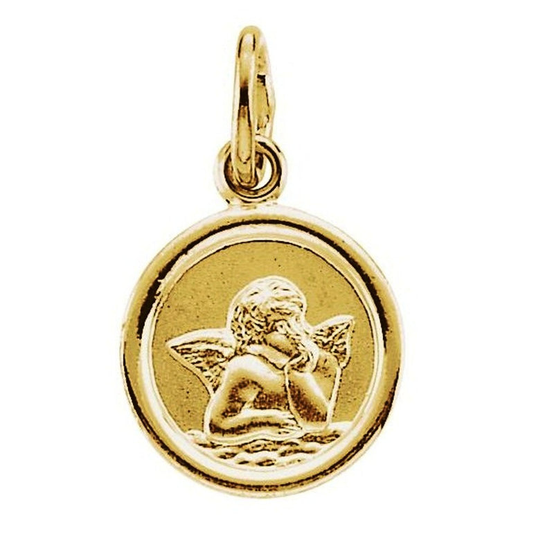 14k Yellow Gold Round Angel Medal (14 MM)