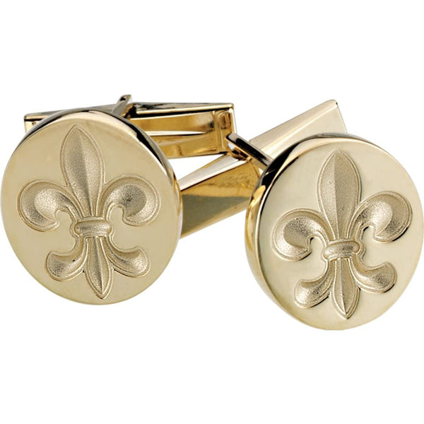 14k Yellow Gold Fleur De Lis Round Cuff Links, 14.75MM