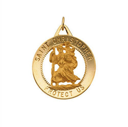 14k Yellow Gold St. Christopher Medal (25.25mm) Patron Saint of Athletes, Porters, Sailors and Travelers