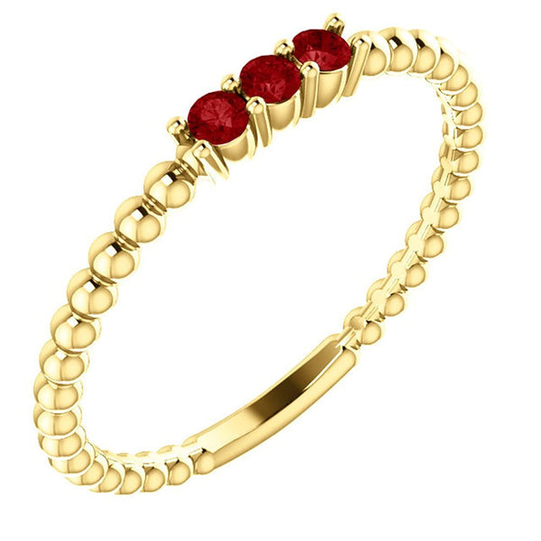 Chatham Created Ruby Beaded Ring, 14k Yellow Gold, Size 6.5