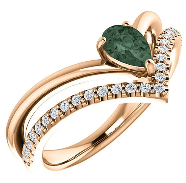 Chatham Created Alexandrite Pear and Diamond Chevron 14k Rose Gold Ring (.145 Ctw,G-H Color, I1 Clarity)