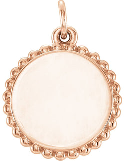 Engrave-able Round Granulated Bead Pendant, 14k Rose Gold