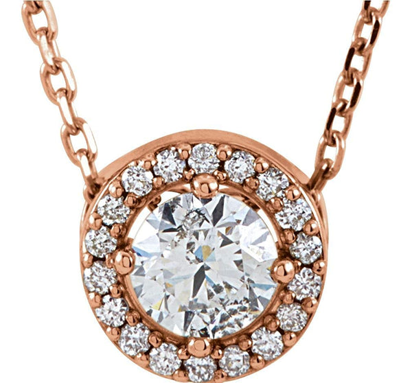 "19-Stone Diamond Halo 14k Rose Gold Pendant Necklace, 16"" (.33 Cttw)"