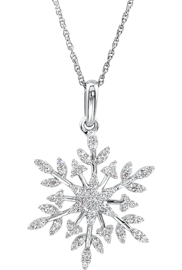 CZ Snowflake Sterling Silver Necklace, 18""