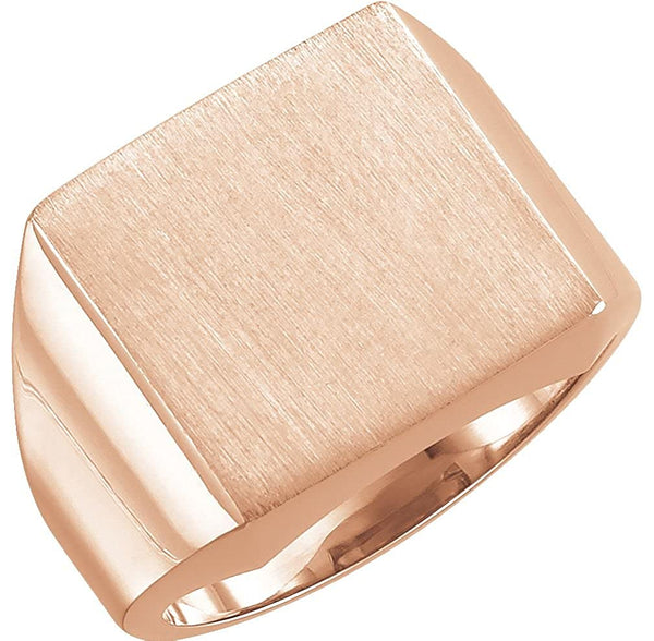 Men's 10k Rose Gold Brushed Signet Ring (18mm) Size 10.5