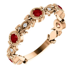 Chatham Created Ruby and Diamond Vintage-Style Ring, 14k Rose Gold (0.03 Ctw, G-H Color, I1 Clarity)
