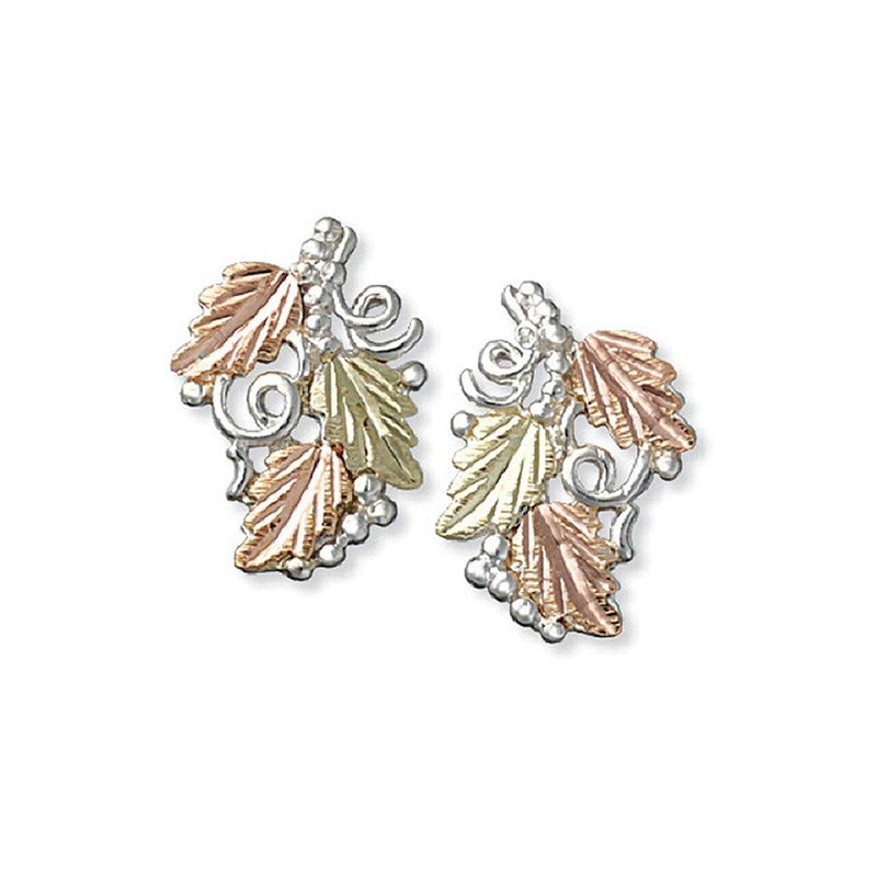 Delicate Frosted Leaf Stud Earrings, Sterling Silver, 12k Green and Rose Gold Black Hills Gold Motif