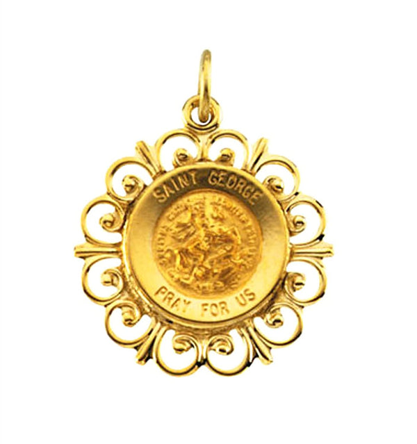 Rhodium Plated 14k Yellow Gold Round St. George Medal (18.5 MM)