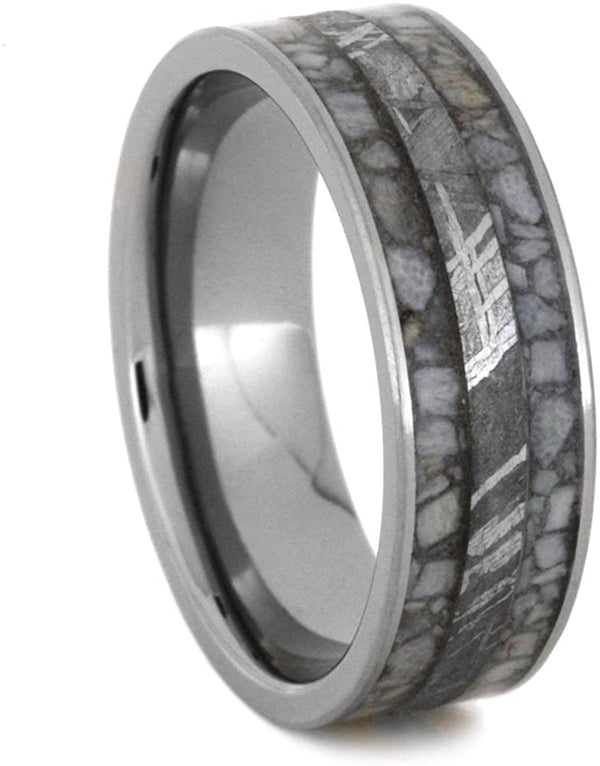 Deer Antler with Gibeon Meteorite Inlay 7mm Comfort-Fit Titanium Wedding Band, Size 8.25