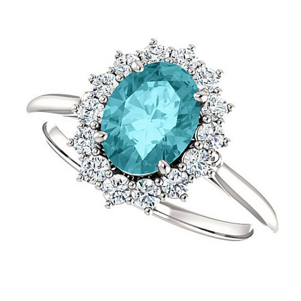 Aquamarine and Diamond Halo 14k White OR Yellow Gold Ring, Size 7