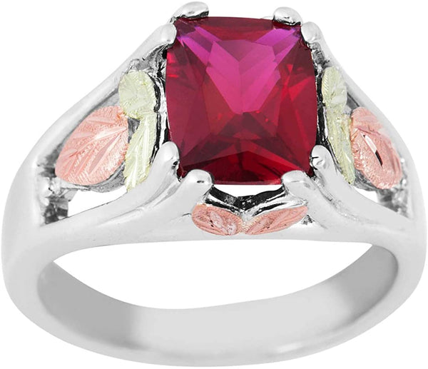 January Birthstone Created Garnet Ring, Sterling Silver, 12k Green and Rose Gold Black Hills Silver Motif, Size 9.25