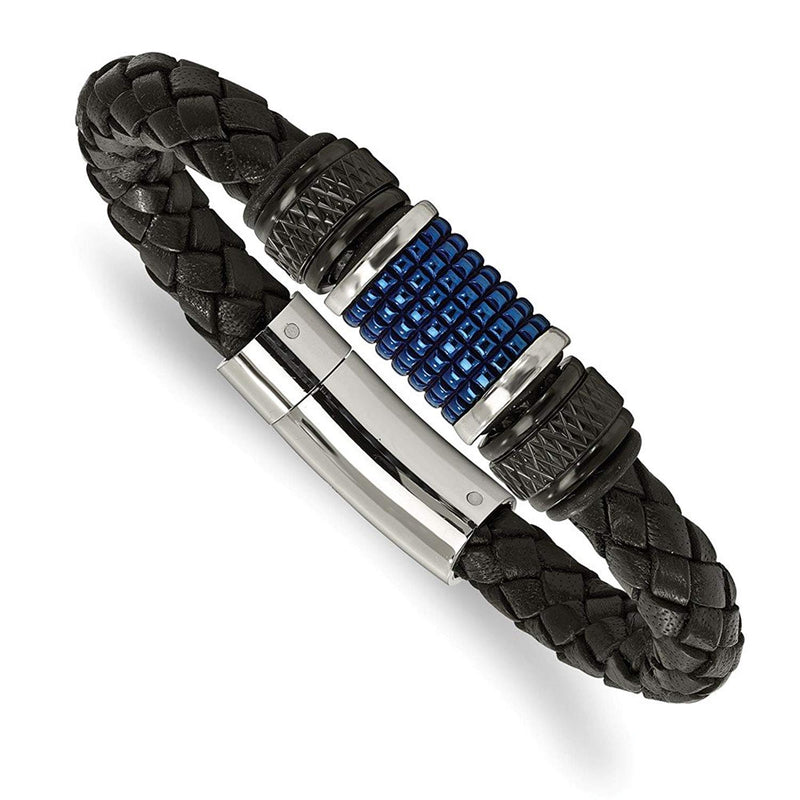 Men's Polished Stainless Steel Black and Blue IP-Plated Black Rubber, Leather Bracelet, 8.5""
